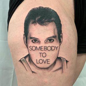 Tattoo by Jeremy D #JeremyD #queentattoos #queen #freddymercurytattoo #freddymercury #bohemianrhapsody #rockandroll #musictattoo
