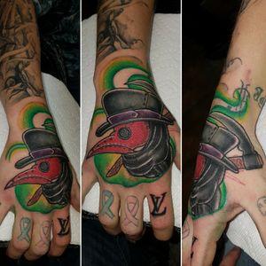 Cool little new school plague doctor hand piece  #newschooltattoo #newschool. #tattoo #tattoos #plaguedcotor