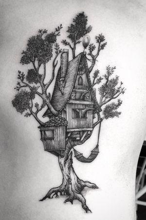 • Tree house • #tattoo #treehouse #linework #blackwork