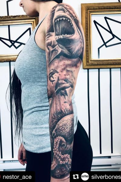 @nestor_ace added a bit more to this this sea life sleeve. #inprogress • • • • • •#sea #sealife #shark #tattedgirls #girlswithtattoos #tattooed #ink #tattooideas #silverbonestattoo #tattoo #tattoos #vancouvertattooartist #vancouvertattoo #tatt #tatted #tattoosleeve #tattooer #inked #inking #inkjunkeyz #inkaddict #inkstagram #vancouver #vancity #vancouverisland #westcoast #tatuaje #tatuajes #bogota