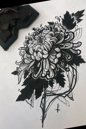✖️🔥Chrysanthemum🔥✖️                          #flower #drawing #blackwork #chrysanthemum #satan