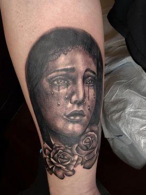 St Mary and Rose's #athensga #athenstattoo #athenstattoos #athens #ga #uga #ladytattooers #grayscale #blackandgray #greyscale #grey #portraittattoo #facetattoo #religious #mother