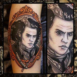 Sweeney Todd... #inkfusion #inkfusionempire #geektattoo #geekedouttattoos #geeksterink #geekytattoos #comicbooktattoo #nerdytattoos #nerdtattoo #nerdtattoos #brightandbold #traditionaltattoo #realtattoos #realtraditional #tattoos #tattooflash #neotraditional #solidtattoo #lasvegastattooer #timburton #timburtontattoo #sweeneytodd #sweeneytoddtattoo