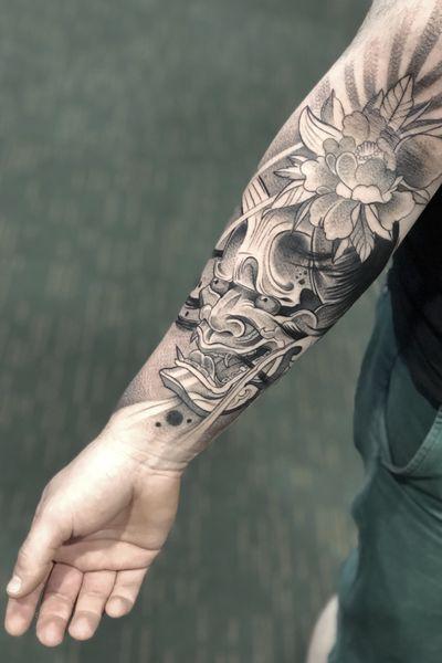 One from the Dublin Tattoo Convention 2018 #japanesetattoo #japanese #hannya #hannyamask #halfsleeve