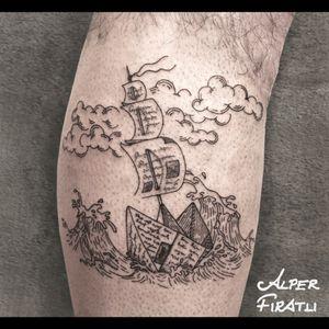 Set sails for new lands to discover... .🌊⛵️ ... #paperboat #sailing #storm #stormyseas #ocean #origami #linework #tattoo #tattooartist #blacktattoo #tattooidea #art #tattooart #tattoooftheday #tattoostagram #ink #inked #customtattoo #customdesign #tattooist #engraving #crosshatching