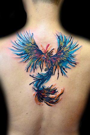 #phoenix #phoenixtattoo #fenix #fenixtattoo #aquarela #aquarelatattoo #watercolor #watercolortattoo #thiagopadovani