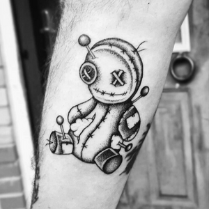 Fun little dot-work voodoo doll on the forearm- can't wait to add his candle!