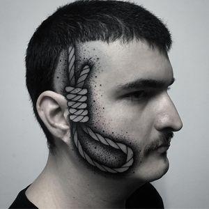Tattoo by Andric Matocanovic #AndricMatocanovic #facetattoos #facetattoo #scalptattoo #headtattoo #jobstoppers #noose #blackwork