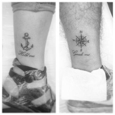 Couple tattoo. #anchortattoo #compasstattoo #compassrose #bwtattooing #blackwork #lineworktattoo #letteringtattoo #girltattooartist #roxxaiin