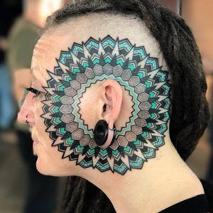 Tattoo by Jason Calvin #JasonCalvin #facetattoos #facetattoo #scalptattoo #headtattoo #jobstoppers #mandala #sacredgeometry #color #shapes