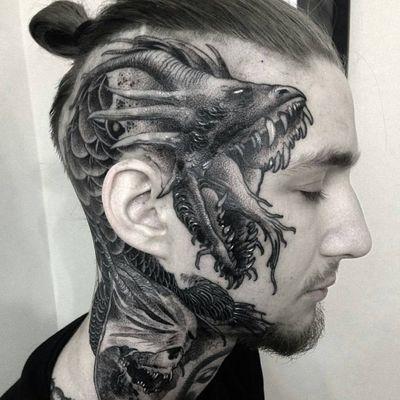 Tattoo by Lipa #Lipa #facetattoos #facetattoo #scalptattoo #headtattoo #jobstoppers #darkart #monster #dragon