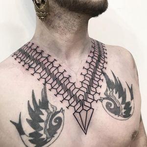 Tattoo by Suni Banik of Sri Yantra Tattoo #SuniBanik #SriYantraTattoo #linework #blackwork #ornamental #pattern #shapes #sacredgeometry #geometric #sigil #symbol