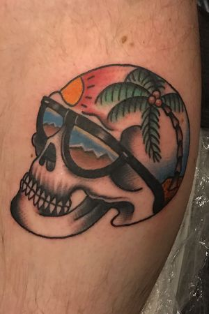 Skulls ans the beach. . . . . . . #skull #skulltattoo #boldwillhold #tattoodo #northpark #hillcrest #cityheights #sandiego #california #losangeles #seattle #seattletattooartist #tradtionaltattoo #sunglasses #beachscene #palmtree
