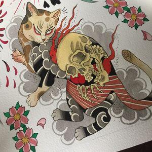 Mon mon cat inspired kitty #cattattoo #japan #japanese #japanesetattoo #traditionaltattoo #tätowierung #tattooing #cattoo #irezumi #Flash #flashart #tattooart #tattooflash #painting #paintings