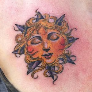 Tattoo by Lara Scotton #LaraScotton #tattoodo #tattoodoapp #tattoodoappartists #besttattoos #awesometattoos #tattoosforgirls #tattoosformen #cooltattoos #color #sun #portrait #ladyhead #illustrative