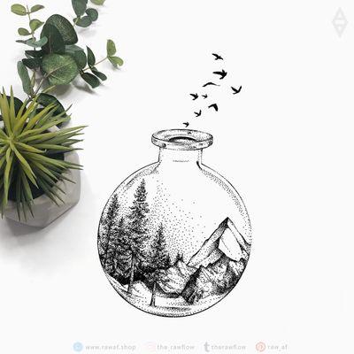Nature scents potion. Full size design, temporary tattoos: www.rawaf.shop/tattoo #dotwork #nature #tree #mountain #blackwork #travel