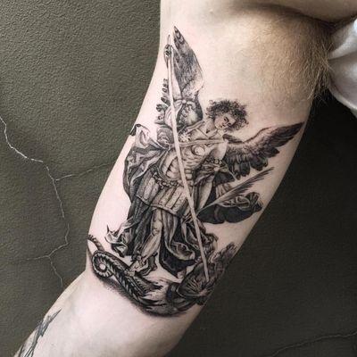 Tattoo by The Hanged #TheHanged #tattoodo #tattoodoapp #tattoodoappartists #besttattoos #awesometattoos #tattoosforgirls #tattoosformen #cooltattoos #blackandgrey #stmichael #angel #demon