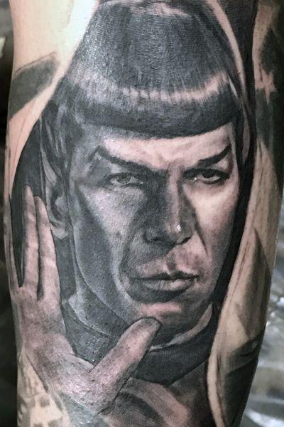 """""""Live long and prosper"""" Spock. #StarTrek #StarTrekTattoo #mrspock #Spock #spocktattoo #realistic #realism #portraittattoo #Vulcan"""