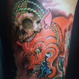 Tattoo by Orrin Hurley #OrrinHurley #tattoodo #tattoodoapp #tattoodoappartists #besttattoos #awesometattoos #tattoosforgirls #tattoosformen #cooltattoos #color #neojapanese #fox #skull