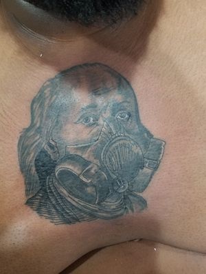 Benjamin Franklin gasmask tattoo