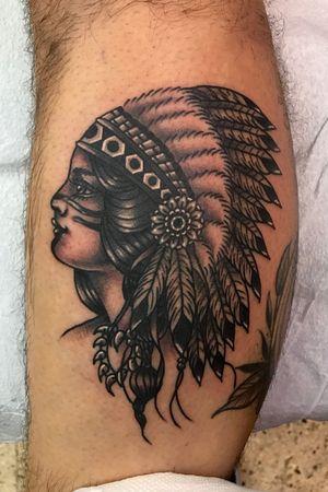 Black and grey traditional native american girl head tattoo