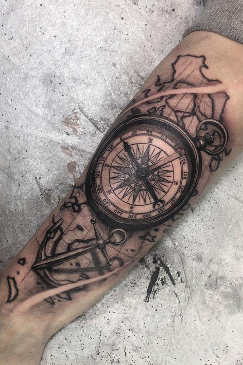 Compass & Map & Anchor  Black & Gray
