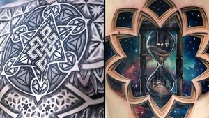 Tattoo on the left by Aries Rhysing and tattoo on the right by Jesse Rix #AriesRhysing #JesseRix #chesttattoos #chesttattoo #chest