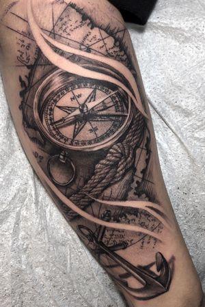 Compass & Map Black & Gray