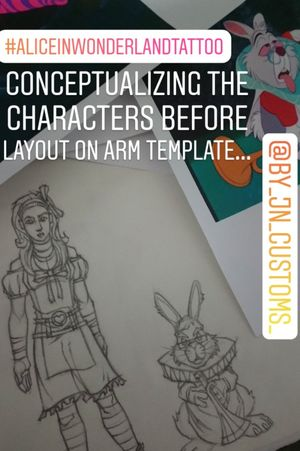 #AliceinWonderlandtattoo character concepts for full rendering on arm...Stay tuned #tattoosleeves #rendering #concept #build #fairytale #imagination #projection #create #byjncustoms