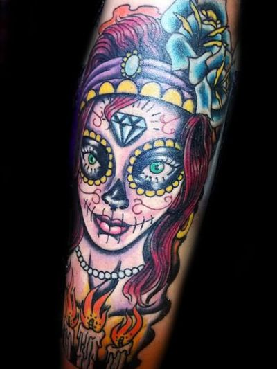 Day of the dead#santemuerte#dayofthedead#neotraditional#colortattoo#diadelosmuertos