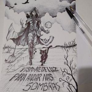 ( A bruxa ). Desenvolvimento de desenho para tattoo. Caneta Bic.