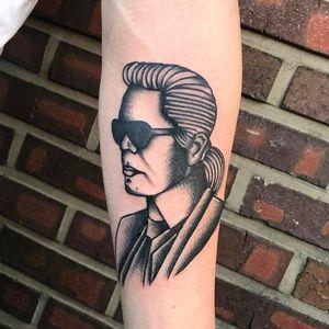 Tattoo by King Kong Tattoo #KingKongTattoo #fashiontattoos #fashion #trend #style #aesthetic #fashiondesigner #fashionmodel #karllagerfeld #portrait #traditional