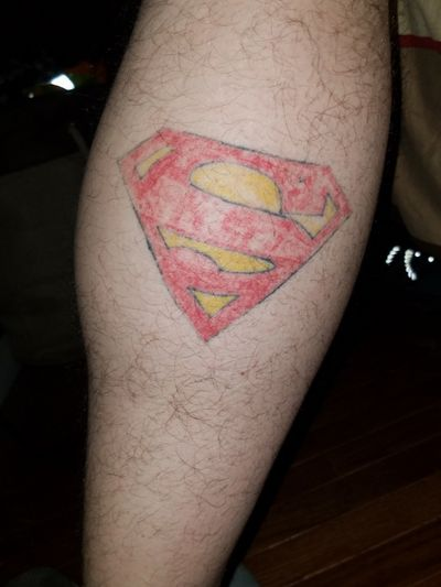 Tattoo#3 #rightcalf #Superman Want to turn this into a calf sleeve with a bunch of different DC superheroes