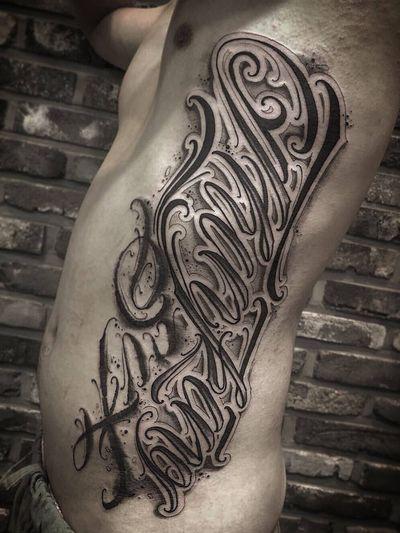 """ Thinking Six "" #customlettering #letteringtattoo #lettering #tattoo #chicanotattoo #hiphop #tattoos #scripttattoo #script #inked"