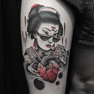 Tattoo by Jaffa Wane #JaffaWane #uniquetattoos #unique #different #special #besttattoos #illustrative #geisha #Japanese #traditional #mashup #heart