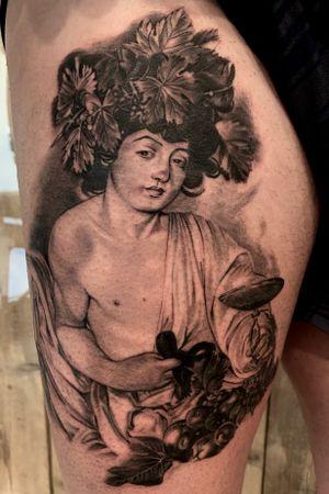 #caravaggio #bacco #tattoo # realismtattoo #blackandgreytattoo