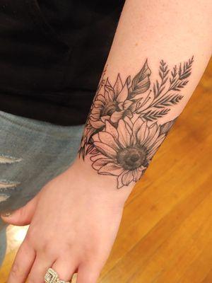Sunflowers blackwork wrist