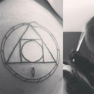 Uroboros Hand poked tattoo.