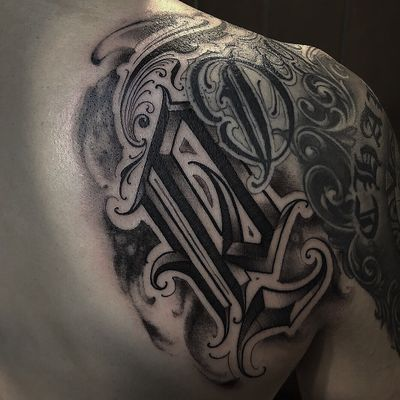 """P"". #koreatattoo #4deathtattoo #edgy #letteringtattoo #lettering #blackandgray #customlettering #font #freehandtattoo #freehandlettering #hiphop #chicano #letters #bboy #tattoos"