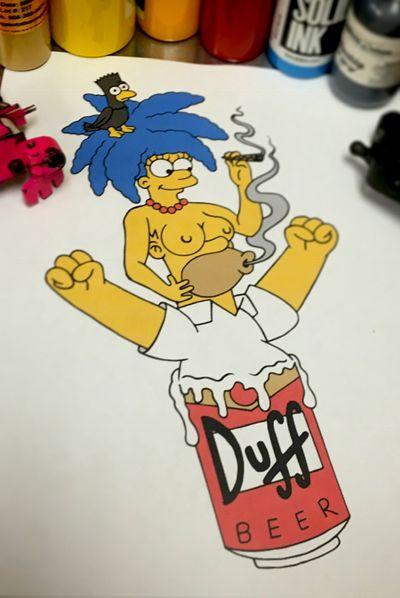 Simpsons Mash Up #duffbeer #Simpsons #simpsonstattoo #simpsonsmashup #fourarrows #fourarrowsart #floridatattooartist #fortlauderdale #miami #crossedkeysociety #smokeone #vice #flaglervillage #flagleruptowb
