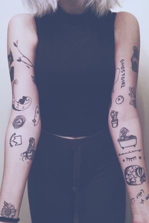 My Inner Arms #Black #blackink #blackinktattoo #sleeves #bathtub #moon #face #cactus #jarofhearts #crown #smileyface #barbie #ghostgirl #plant #sunflower #eyelashes #stars