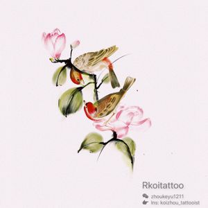 #watercolortattoo #watercolorbird#watercolorflower#melbournetattoo