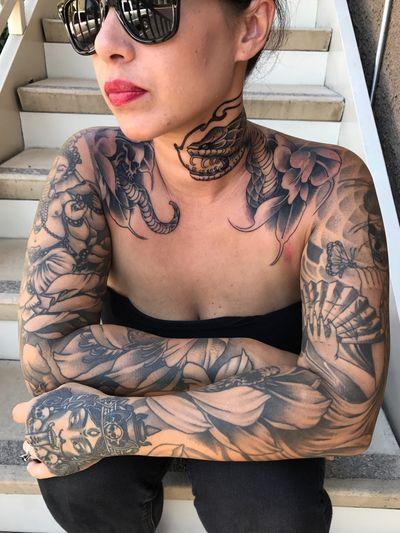 #buddha #sleeve #japanese #japanesetattoo #irezumi #ornamental #dotwork #geometric #blackandgrey #blackwork #blackworktattoo #thailand #unalome #ganesha #ganesh #Geisha #skull #skulltattoo #kali #snake #snaketattoo #sleevetattoo #chesttattoo