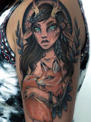 Fawn girl with fox familiar.