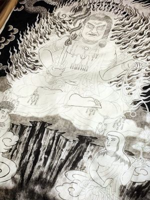 finished black by traditional Japanese Sumi. next up color. Fudo Sanzon 不動三尊 途中 ・ ・ ・ Fudo is one of the Myoo from Mikkyo, when Dainichi Nyorai( the truth of the universe into a Buddha's shape) educated people, Dainichi Nyorai can not educate in usual form, so Dainichi appeare with anger form(Fudo). Fudo living in a Kashou Zamai, burning injuries and various injuries inside and outside, destroy all devils and enemies, guard the examinees, and fulfill the Bosatsu. #kurosumitattooink @kurosumitattooink ・ ・ APPOINTMENT VIA E-MAIL kensho@japantattoo.net ・ ・ ・ ・ ・ ・ #drawing #tattoodrawing #tebori #handpoke #irezumi #horimono #wabori #japantattoo #japanesetattoo #japaneseirezumi #traditionaltattoo #ink #inked #tattooflash #tattooart #tattoolife #tattooideas #tattoostyle #tattooculture #tattoosketch #fudomyoo #ドローイング #刺青 #タトゥー #irezumi_sketches #irezumicollective