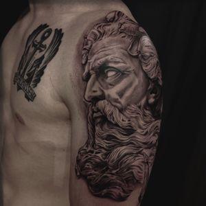 Poseidon done by Jones #Poseidon #poseidontattoo #neptune #godofthesea