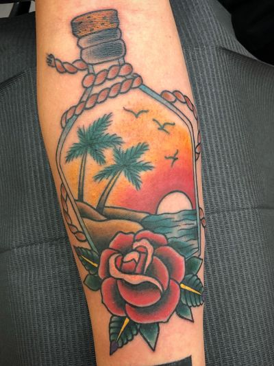 One of my favorite tattoos I've done recently. #traditional #neotraditional #rose #flower #sunset #beach #palmtree