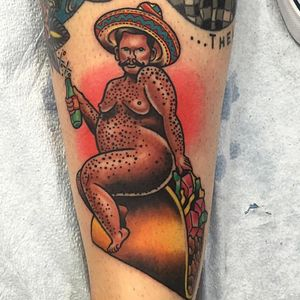 Heres a chubby guy riding a taco. Done for a girl that really loves tacos. #color #taco
