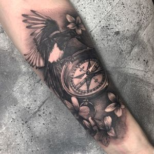 Black & Gray  magpie & compass
