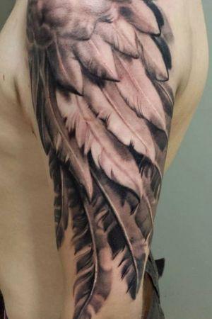 #wings #wing #sleeve #blackandgreytattoo #feathers